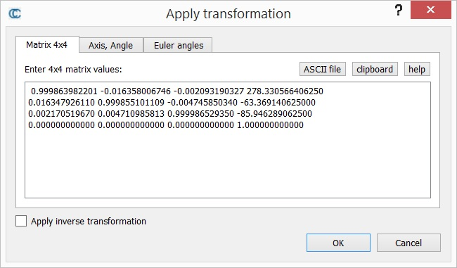 Apply Transformation - CloudCompareWiki